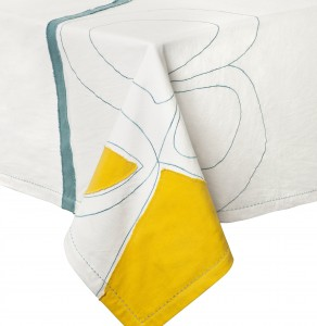 DVF Miro Unique Table Cloth in White/Yellow/Teal/Beet